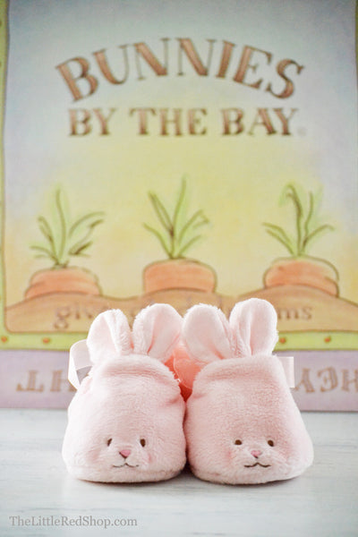 Bunnies by the Bay's Pink Velveteen Hoppy Feet Baby Bunny Slippers