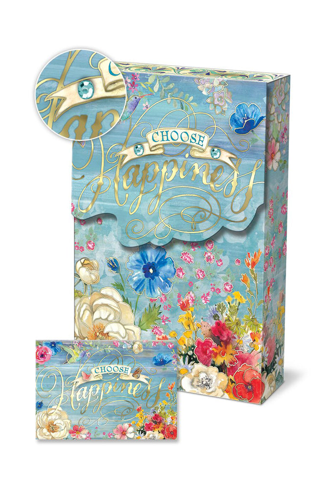 """Choose Happiness"" Notecard Set in blue with gem and flowers"