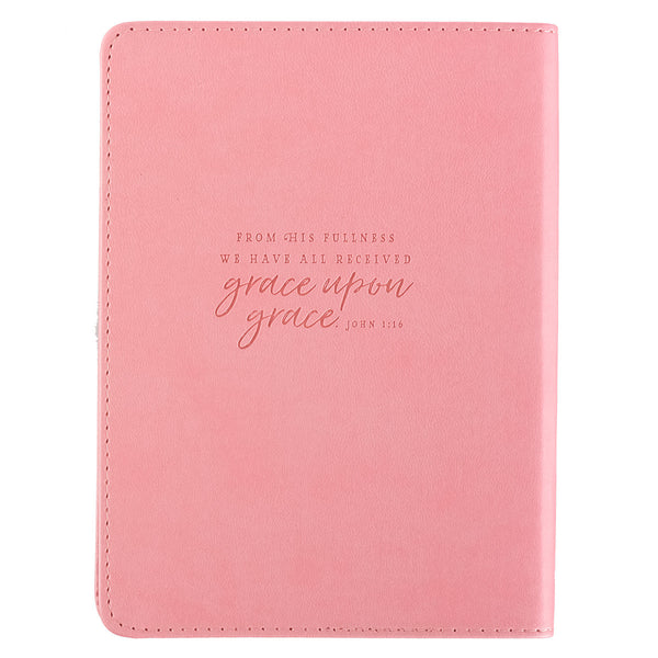 Grace Upon Grace ~ John 1:16 Classic Pink Journal ~ Back Cover with Verse