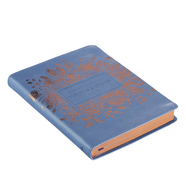 Classic Blue Strength & Dignity Proverbs 31:25 Journal ~ Side View