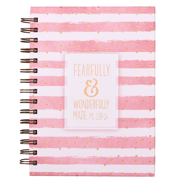 Pink & White Striped Journal Cover