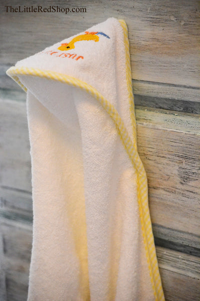 "Michel Design Works White Terry Cloth ""Just Ducky"" Hooded Baby Towel"