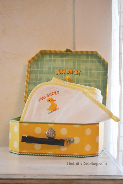 Michel Design Works Just Ducky White Terry Cloth Hooded Towel and Mitt Set in Yellow Polka Dot Suitcase