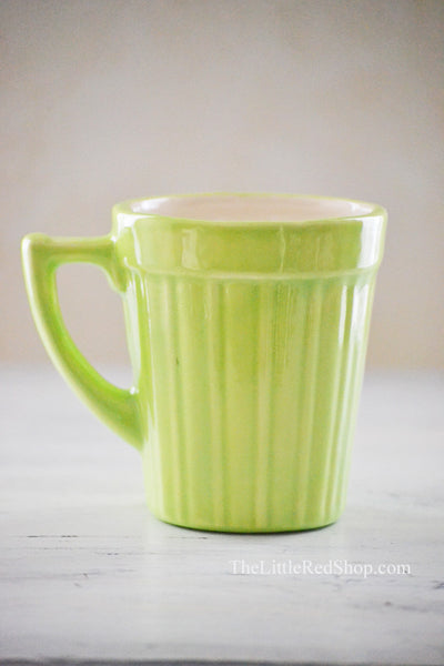Alt View - Dainty Vintage Spring Green Pottery Mug