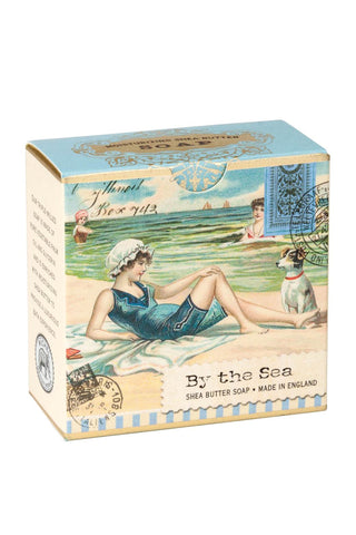 By the Sea A Little Soap with Bathing Beauty & Puppy Box Illustration