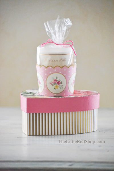Side View of Collectible Box for Michel Design Works Peony Hearts and Flowers Soap and Dish Gift set in Collectible Heart-Shaped Gift Box with Primrose Path Votive Candle