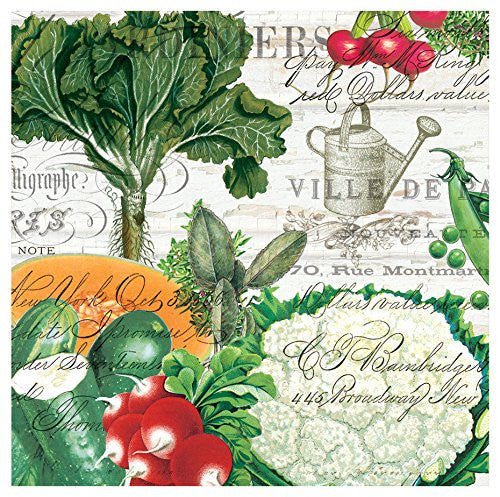 Detail of Michel Design Works From My Garden Cocktail Napkins featuring Colorful Vegetables
