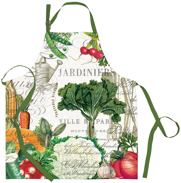Michel Design Works From My Garden Chef Apron featuring Colorful Vegetables and Parisian Text