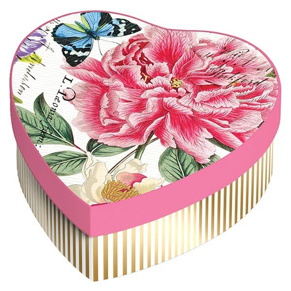 Closeup of Collectible Box for Michel Design Works Peony Hearts and Flowers Soap and Dish Gift set in Collectible Heart-Shaped Gift Box