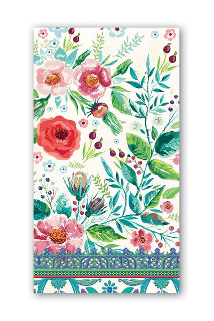 Wild Berry Blossom Bohemian Floral Hostess Napkins in white, aqua, and pink