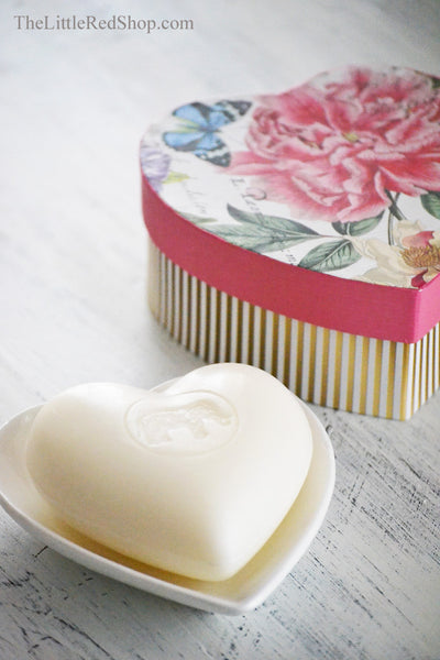 Michel Design Works Peony Hearts and Flowers Soap and Dish Gift set in Collectable Heart-Shaped Gift Box