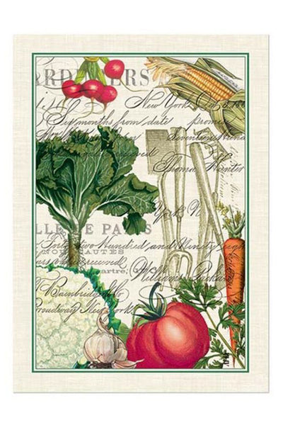 Detail of Michel Design Works From My Garden Kitchen Towel Dish Cloth featuring Colorful Vegetables