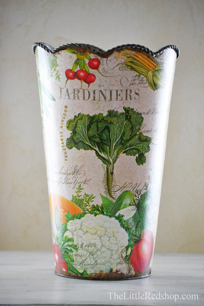 In the Greenhouse: From My Garden Decoupage Large Flower Tin