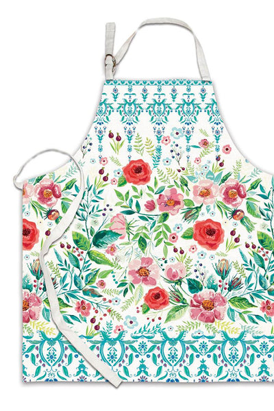 Wild Berry Blossom Cotton Apron in Pink Aqua White Floral