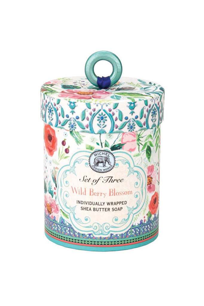 Wild Berry Blossom Triple Soap Set in Beautiful Pink, Blue & White Floral Gift Box