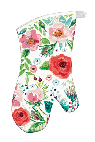 Wild Berry Blossom Oven Mitt with whimsical floral design