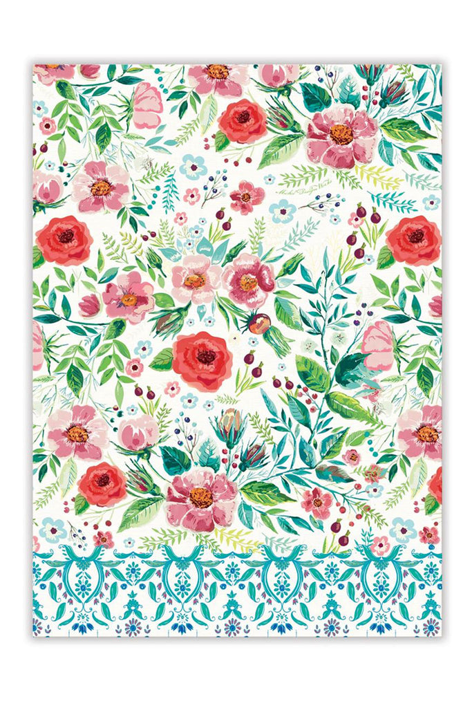 Wild Berry Blossom Bohemian Kitchen Towel with aqua & pink floral design