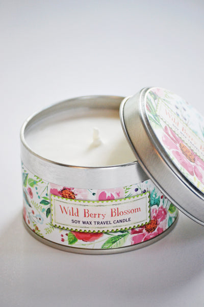 Wild Berry Blossom Soy Wax Travel Candle