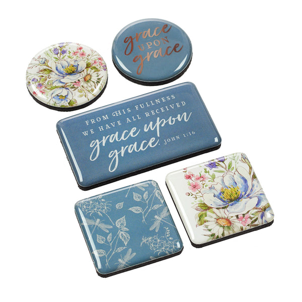 Grace Upon Grace ~ John 1:16 Blue & Floral Magnet Set