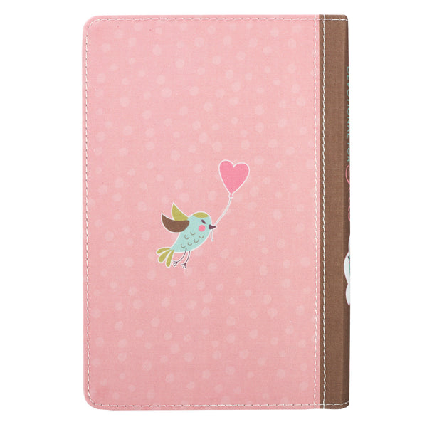 For Girls Pink Pocket Bible Devotional ~ Back Cover View with Bird & Heart