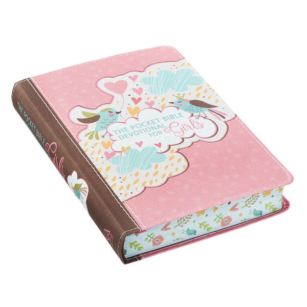 For Girls Pink Pocket Bible Devotional ~ Floral Page Edge View