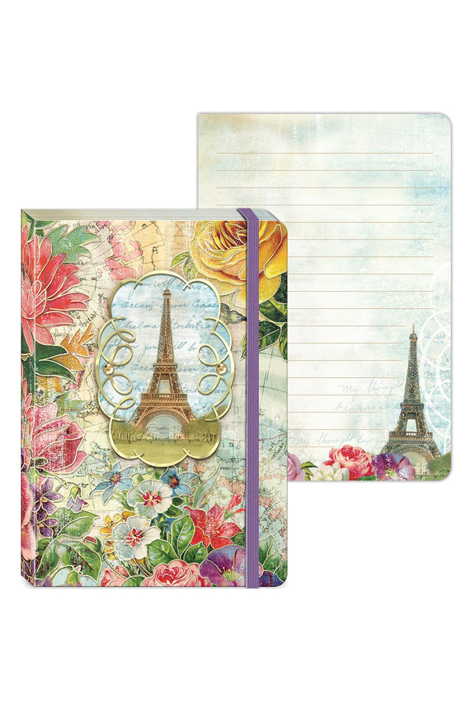 Floral Map Eiffel Soft Cover Bungee Paris Journal