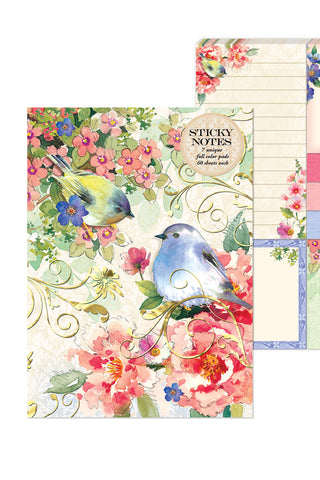 Pink Blossoms & Birds Sticky Notes Folio