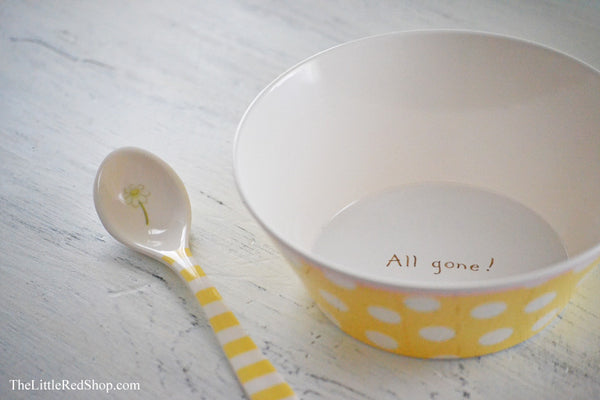 "Interior View - Bay's Emmie's ""Don't Quack with your Mouth Full!"" Baby Bowl & Spoon"