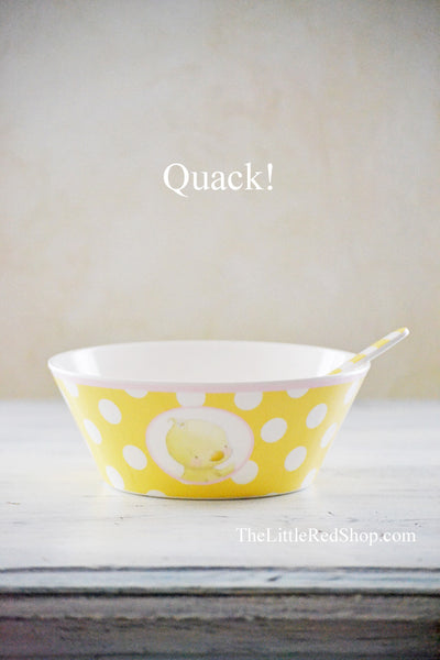 "Large View - Bay's Emmie's ""Don't Quack with your Mouth Full!"" Baby Bowl & Spoon"