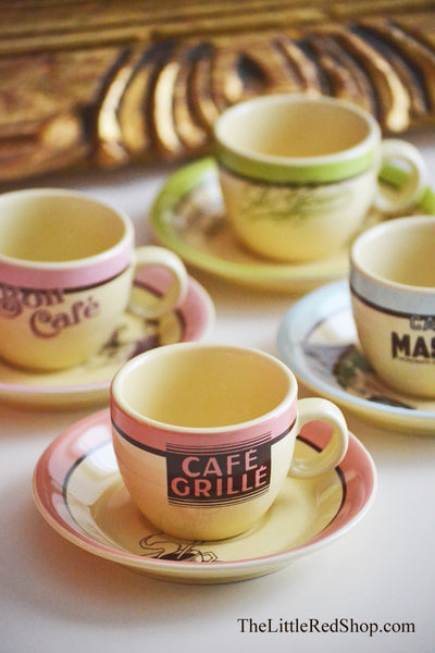 Rosanna French Cafe Espresso Cup & Saucer Set of 4