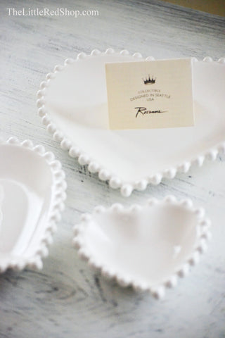 Rosanna Farmhouse Pantry White Nesting Heart Dish Gift Set