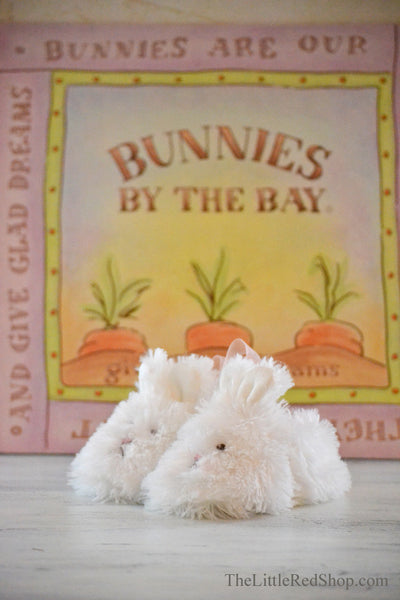 Side View ~ Bunnies by the Bay's White Faux Fur Cuddle Toe Baby Slippers
