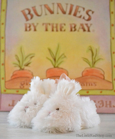Bunnies by the Bay's White Faux Fur Cuddle Toe Baby Slippers