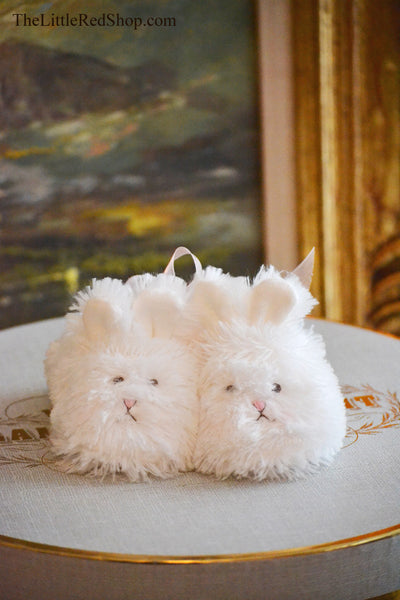 Bunny Faces ~ Bunnies by the Bay's White Faux Fur Cuddle Toe Baby Slippers