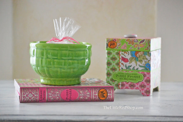 Vintage Spring Green Haegar Basket Weave Flower Pot sitting on Tuttie Frutti Bohemian Pink Notecard Gift Set with Candle Box