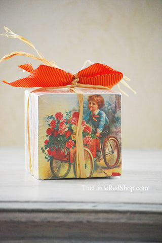 Beautiful Victorian Note Paper Cube featuring a Child on a Flower Cart
