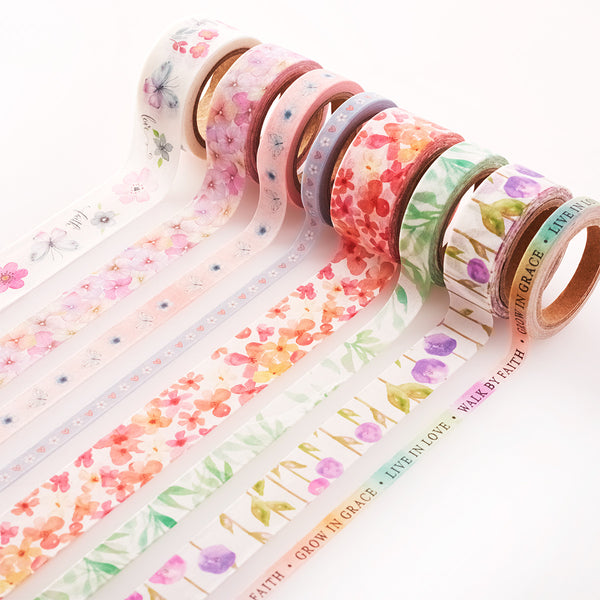 Blossoms of Blessing Washi Tape ~ 8 Roll Set ~ Unrolled View