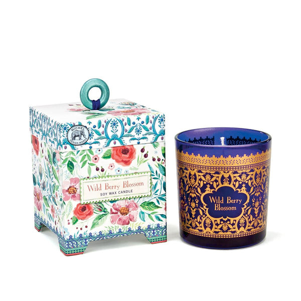 Floral Box w/ Cobalt and Gold Candle Tumbler