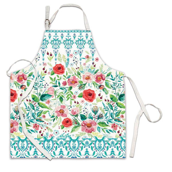 Wild Berry Blossom Apron with aqua and flowers