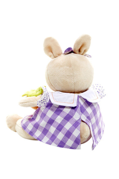 Back View of Bunnies by the Bay's Bloom Bunny Rabbit Stuffed Animal in Purple Gingham Dress