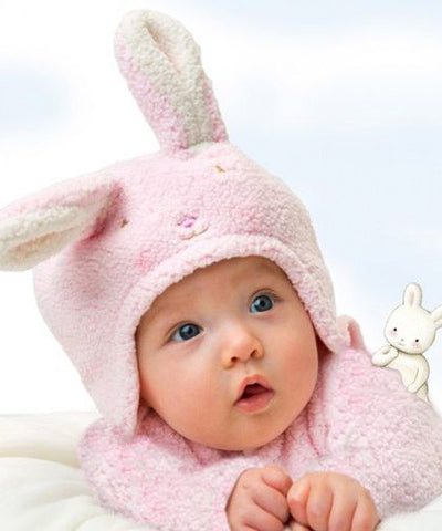 Baby wearing Bunnies by the Bay Blossom Bunny Pink Hat & Mitten Set