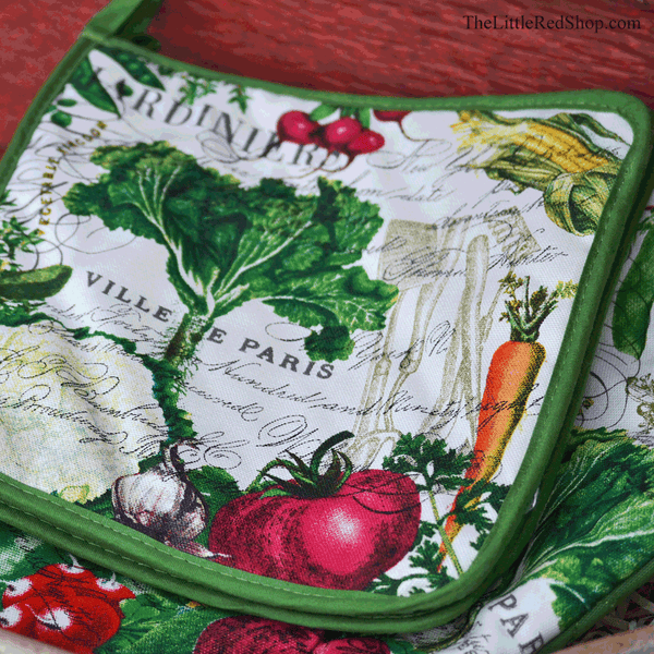 Michel Design Works From my Garden Potholder featuring colorful vegetables