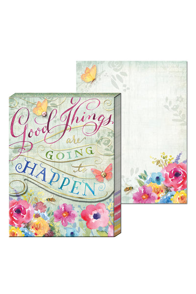 """Good Things Are Going to Happen"" Floral Pocket Note Pad"