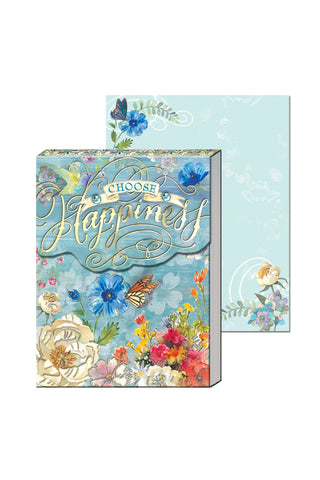 """Choose Happiness"" Blue & Floral Pocket Note Pad"