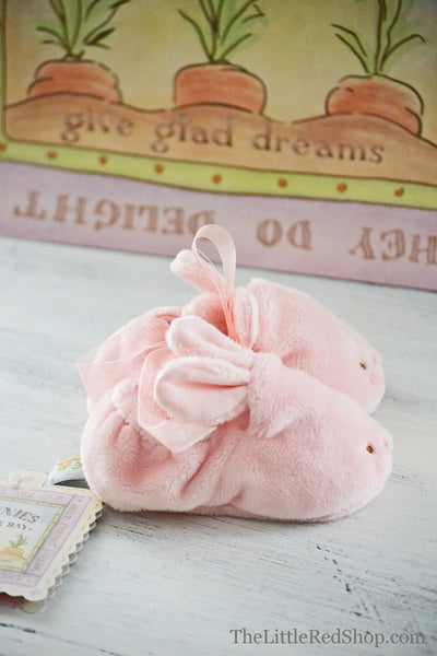 Side view ~ Bunnies by the Bay's Pink Velveteen Hoppy Feet Baby Bunny Slippers