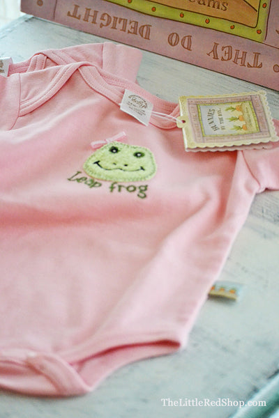 Bunnies by the Bay's Pink Lily Mae Leap Frog Bunsie Baby Onesie