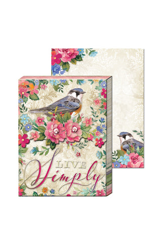 """Live Simply"" Pocket Note Pad with Birds and Flowers"