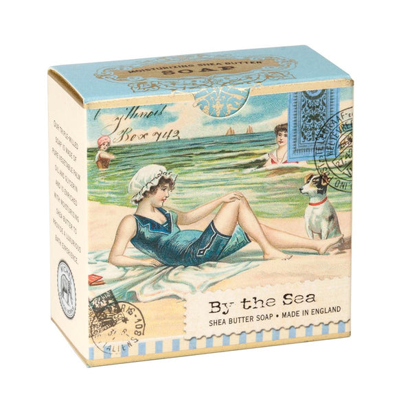 By the Sea A Little Soap featuring a bathing beauty and her pup on the shore box illustration.