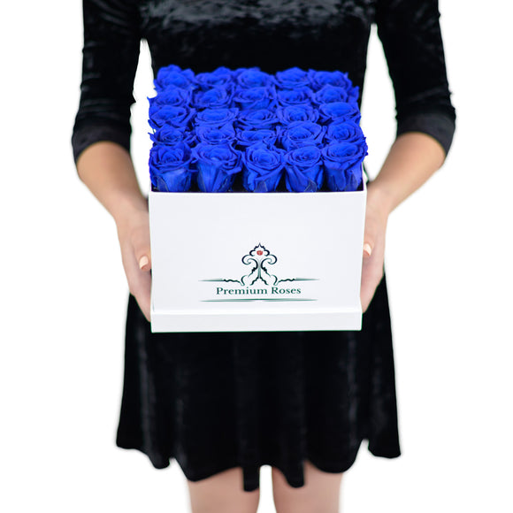 The Roses can Last 1year (Premium Dark Blue Roses with Glossy White box)