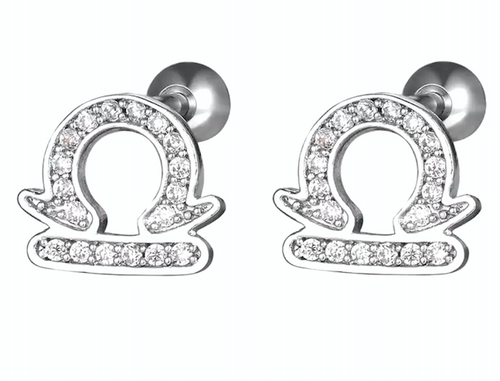 Stainless Steel Zodiac Screw-back Stud Earrings
